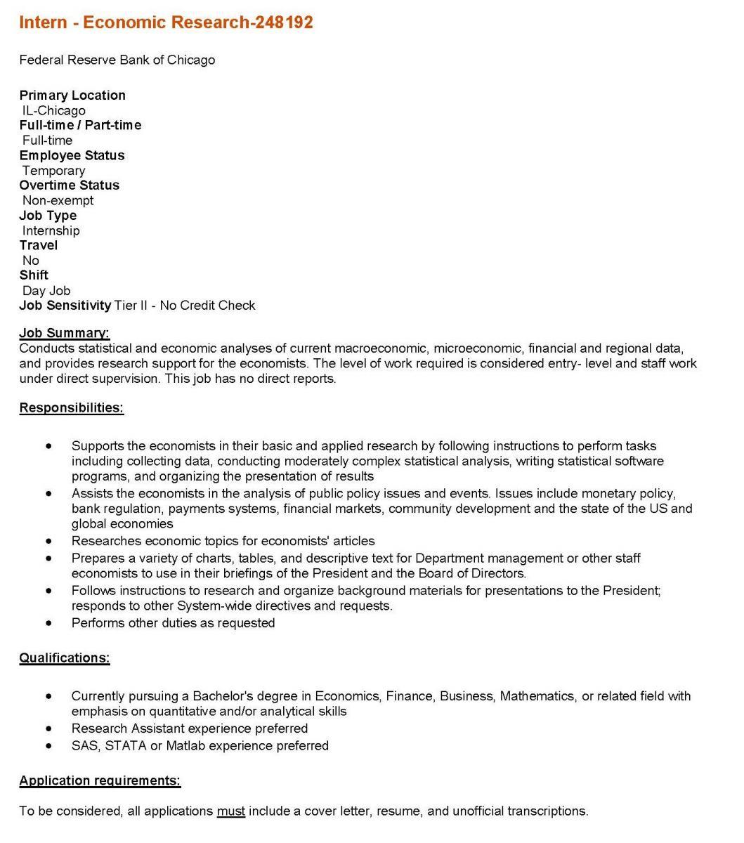 FEDERAL RESERVE BANK OF CHICAGO: INTERNSHIP | Department of Economics