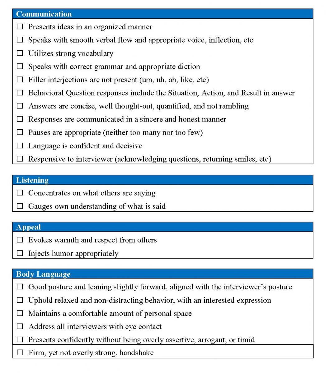 interview assessment checklist department of economics