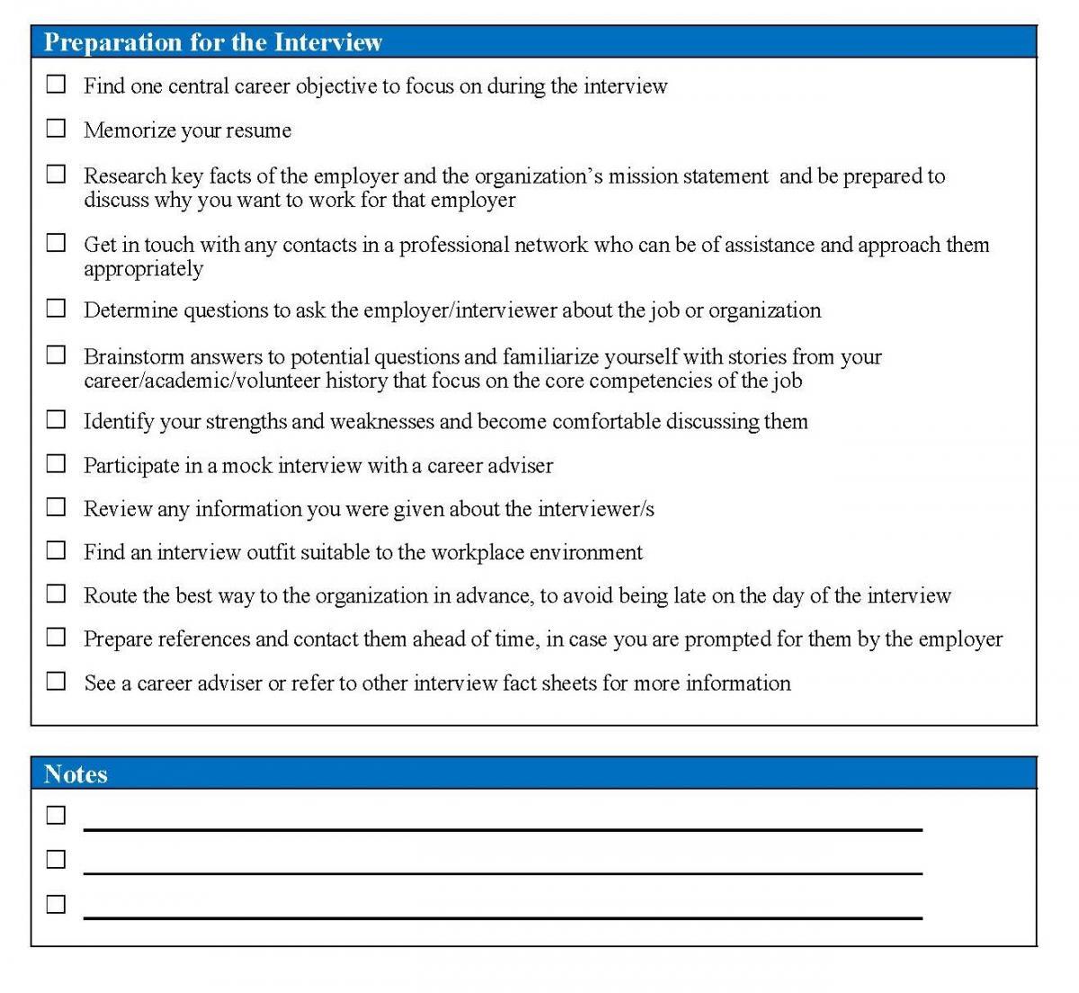 interview preparation checklist department of economics
